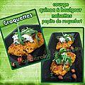 Croquette de courge quinoa boulgour & noisettes, pépite de roquefort