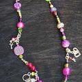 collier court perles et fimo violet, rose et vert