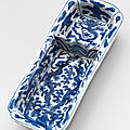 A rare blue and white rectangular pen tray, Wanli six-character mark In underglaze blue and of the period (1573-1619)