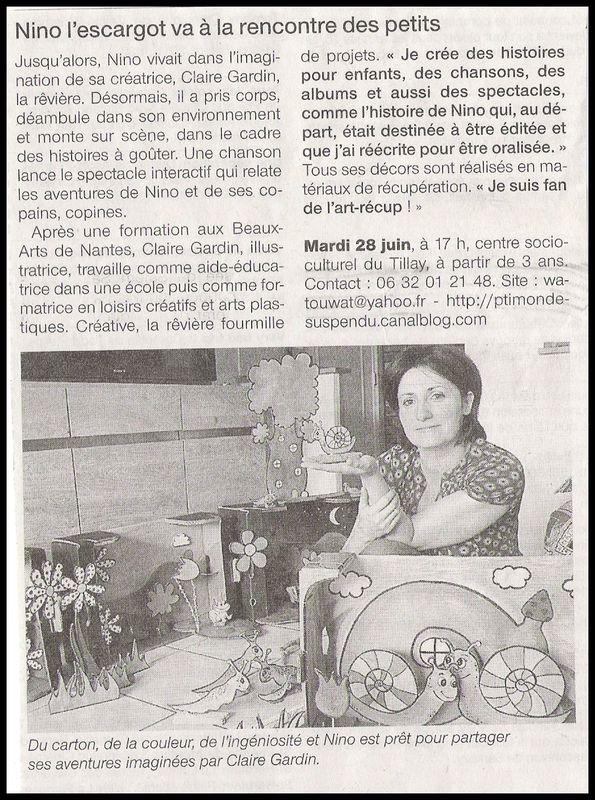 article sur spectacle Nino l'escargot- 2011-06-27