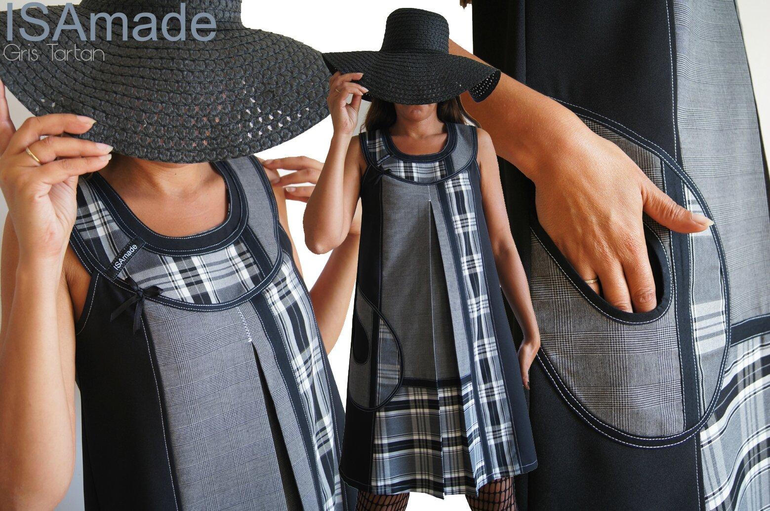 Robe Trapèze Chasuble Noire Grise et blanche réalisée à partir de Patch de tissus : tartan carreaux classique , prince de Galles !