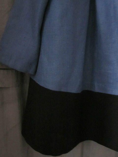 manteau d'été bicolore en lin bleu france et noir (26)