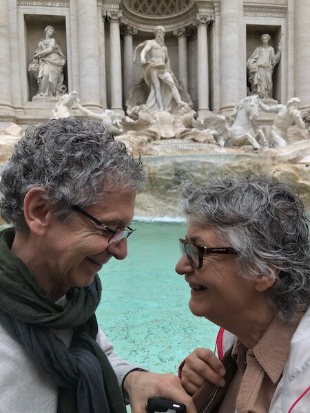 Mes parents devant la fontaine de Trevi