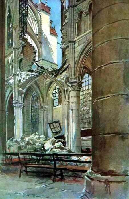 Intérieur cathéd de Soisson 1915