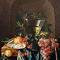 Cornelis de heem, still life with römer, grapes, cherries, oranges and oysters on a table top before a niche