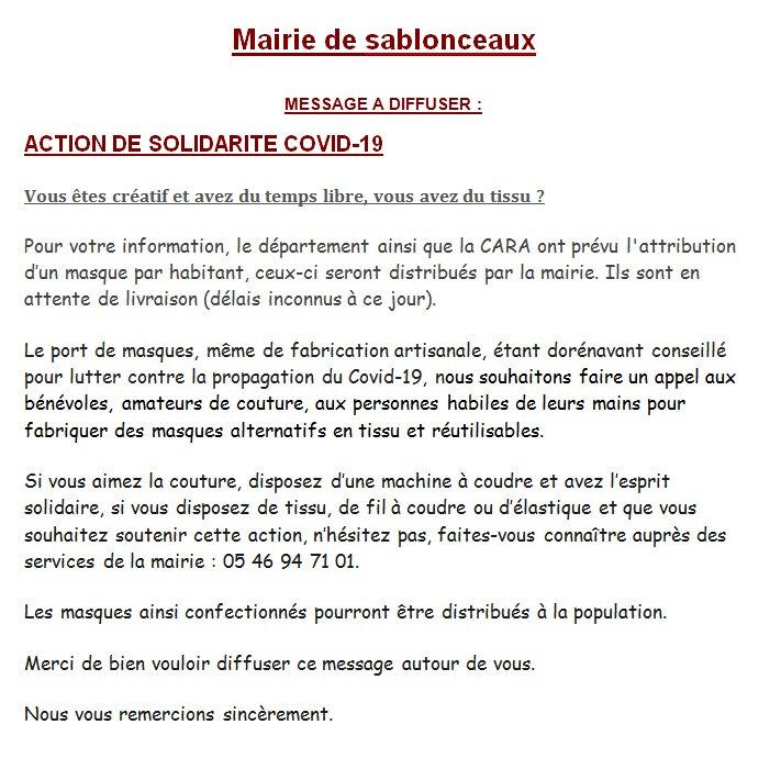 Appel Mairie Sablonceaux