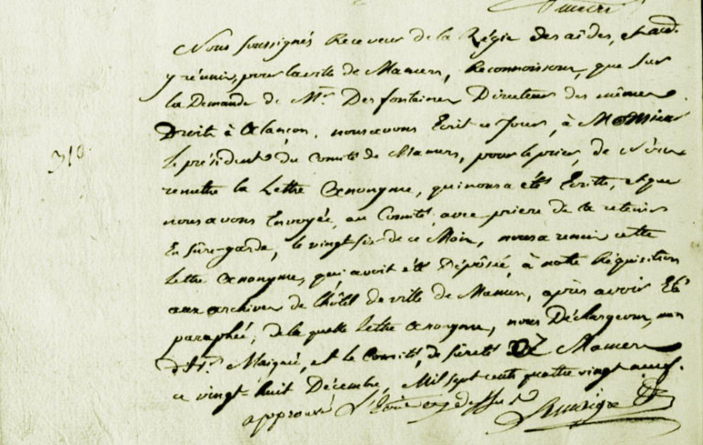 Les 26 et 28 décembre 1789 à Mamers : droits d'aides, le receveur menacé par lettre anonyme.