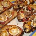 ¤¤¤ brunchetta thon-œuf-olives noires ou brunchetta chèvre-jambon cru ?