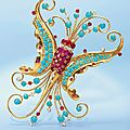 A retro diamond, ruby and turquoise butterfly brooch, by van cleef & arpels