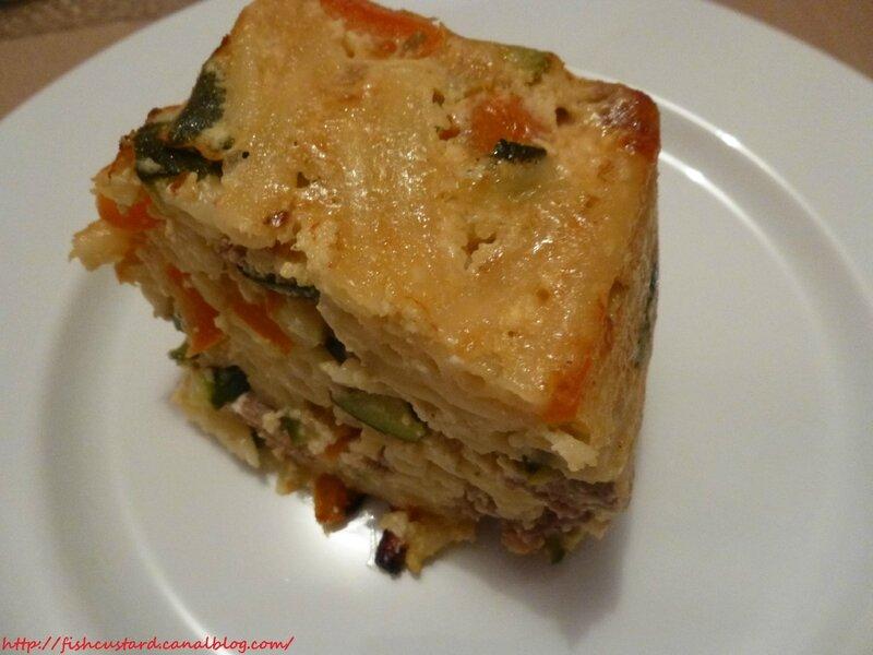 Gâteau de macaroni boulettes-courgettes-poivrons (7)