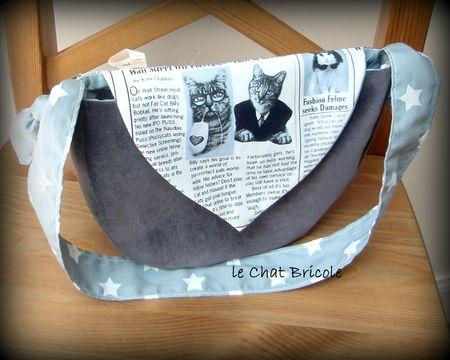 sac besace imprimé chats et velours gris