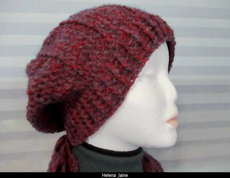 bonnet chiné rouge gris