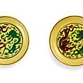 A pair of green and aubergine-enamelled yellow-ground 'dragon' dishes, marks and period of kangxi (1662-1722)