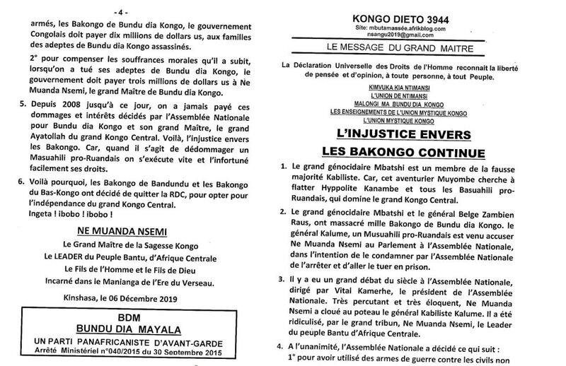 L'INJUSTICE ENVERS LA BAKONGO CONTINUE a