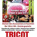 Journée mondiale du tricot le samedi 8 juin 2013 de 13h à 18h à fourmies