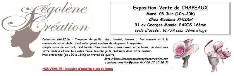 2014-06-03 Vente de chapeaux SEGOLENE CREATION Paris 16