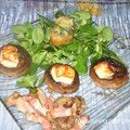 Champignons farcis lardons et feta