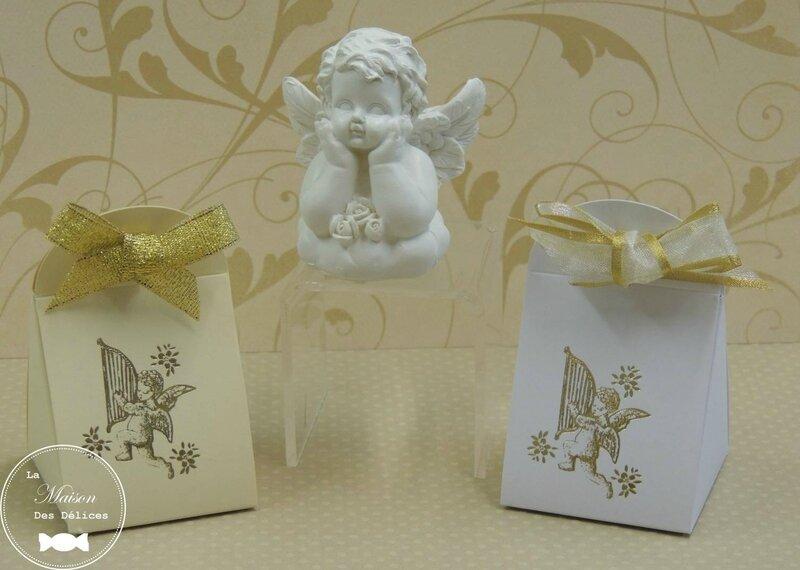 boîte dragées baptême mariage thème angelot gabriel cupidon