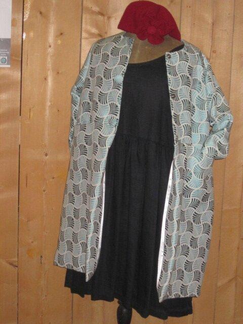 Manteau GISELE en toile polyester turquoise - Doublure de satin grise - Fermé par 3 pressions dissimulées sous 3 gros boutons recouverts (2)
