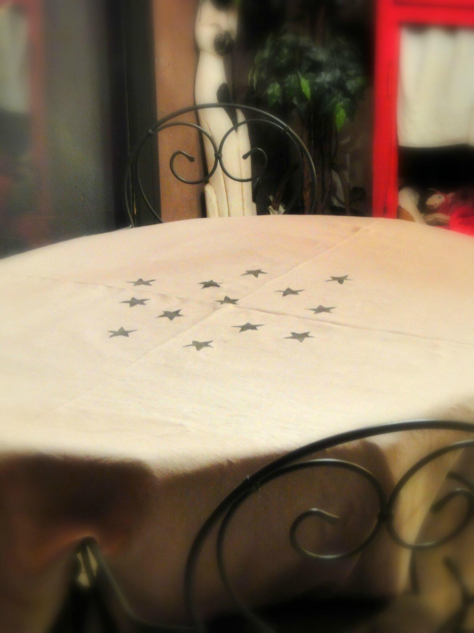 customiser nappe en lin avec tampon fait maison DIY stars stamp