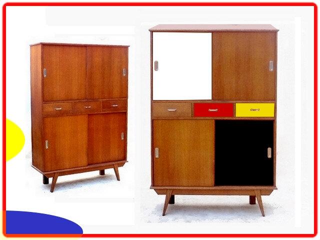 buffet haut armoire vintage 1950