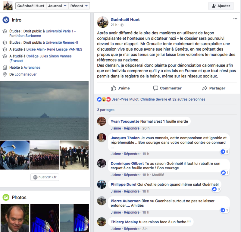 Guénhael Huet-Dominique Gilbert-Yvan Touquette-Jacques Tholon--Thierry Meslay-facebook-plainte-diffamation-insulte-blogueur-François Groualle-réaction