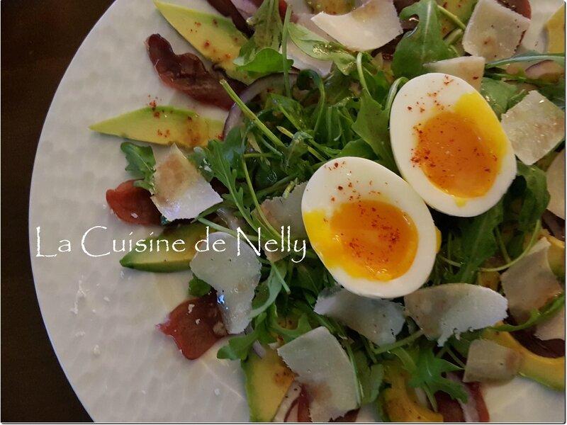 Salade Magret Avocat Parmesan vinaigrette framboise