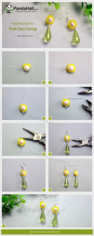 2-PandaHall-Tutorial-on-Small-Daisy-Earrings