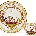 Tea bowl and saucer with chinoiserie decoration, meissen, ca. 1730