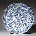 A large safavid blue and white soft paste porcelain dish. safavid iran, second half 17th century