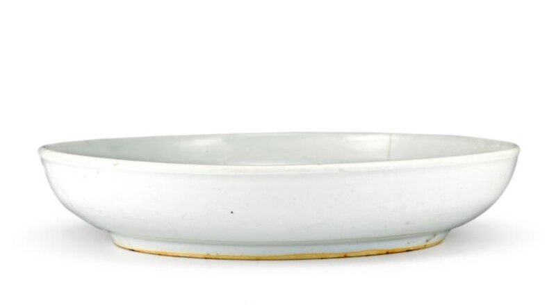 A white-glazed anhua-decorated dish, Ming dynasty, Yongle period