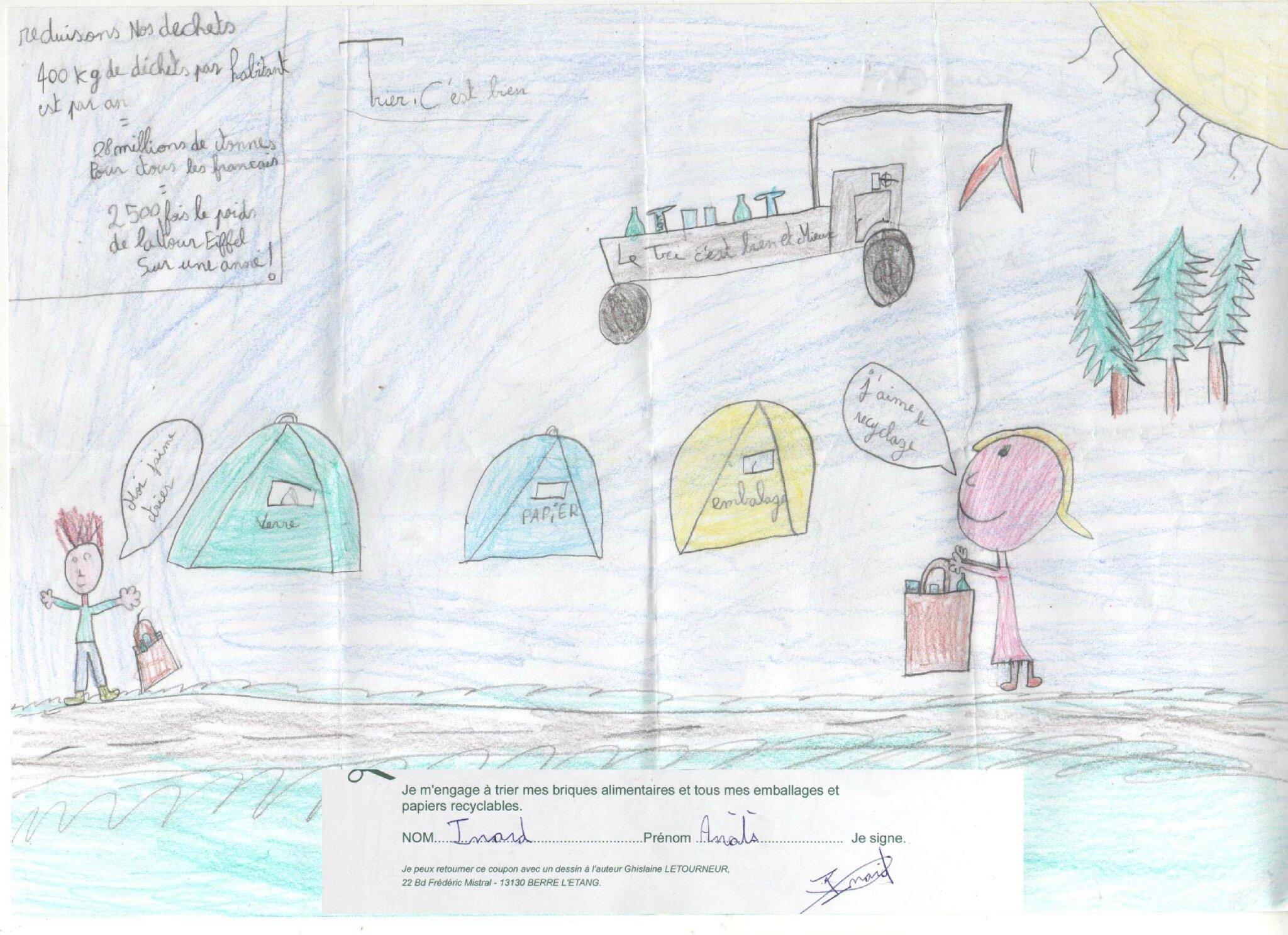 Dessin crayon et signature enfant - Anaïs Isnard s'engage pour le tri - Ecologie Eco-citoyenneté enfants