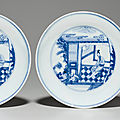 A rare pair of blue and white dishes, yongzheng six-character marks in underglaze blue within double circles and of the period (