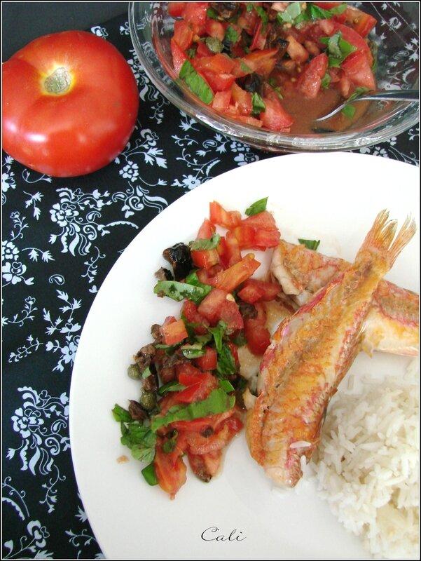 Rougets Grillés à la Plancha & Concassée de Tomate au Basilic 004