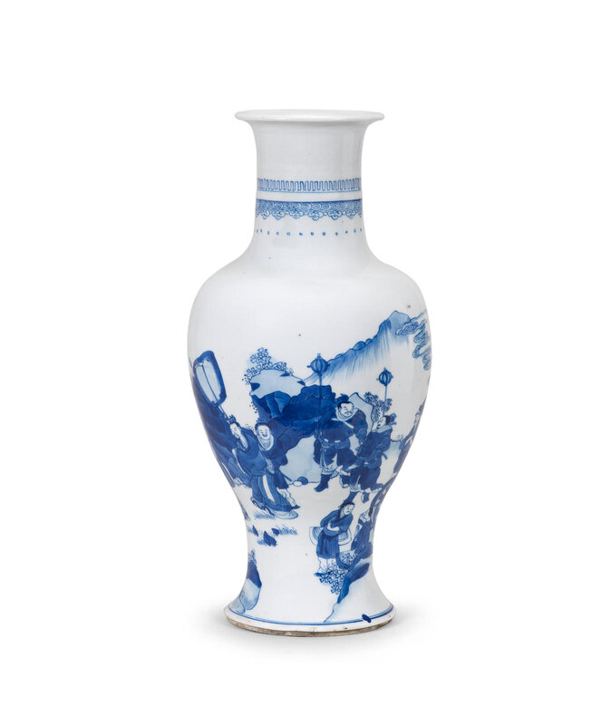 A blue and white 'King Wen and Jiang Taigong' baluster vase, Kangxi period (1662-1722)
