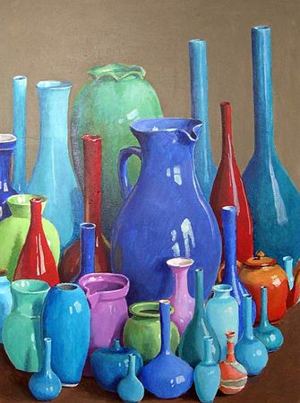 Blue_and_Maroon_Pots_on_Taupe_40x30_5800