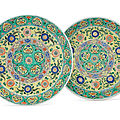 A pair of large famille verte dishes for the persian market, kangxi period (1662-1722)