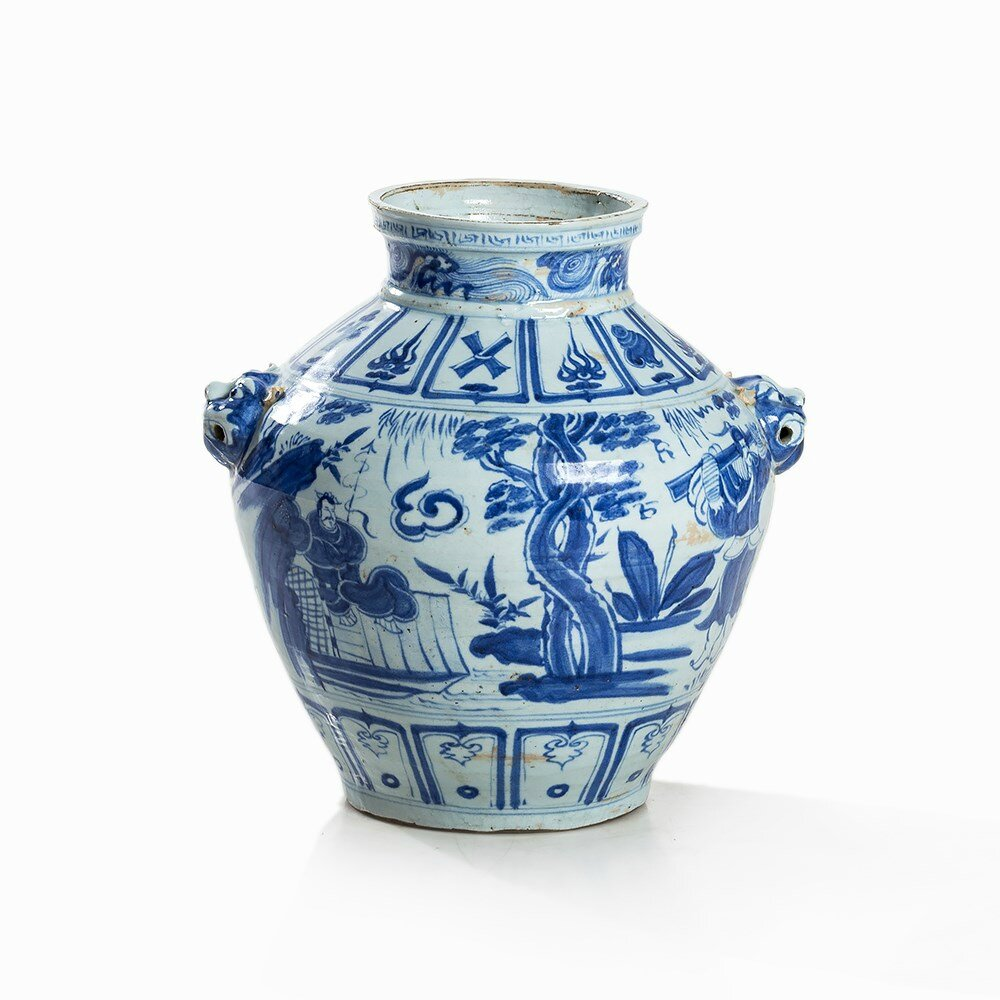 Blue and White Guan-Type Jar with Lion Mask Handles, Ming dynasty (1368-1644)