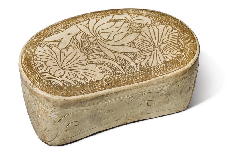 A 'Cizhou' sgraffiato 'lotus' pillow, Northern Song-Jin dynasty (960-1234)