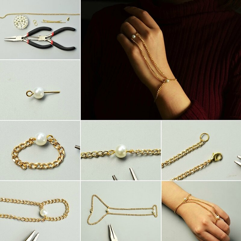 2-Steps-Project–-How-to-Make-a-Golden-Chain-Bracelet-with-Ring-Attached