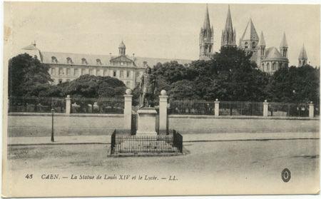 14 - CAEN - Statue Louis XIV et Lycée