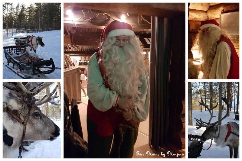 Laponie Le Père Noël et ses rennes