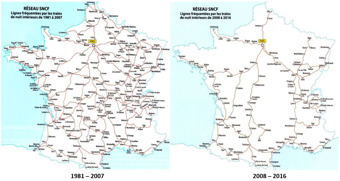 Night trains distribution in France before and after 2008