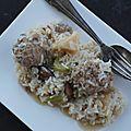 Boulettes de porc au fromage de brebis aux légumes et au riz