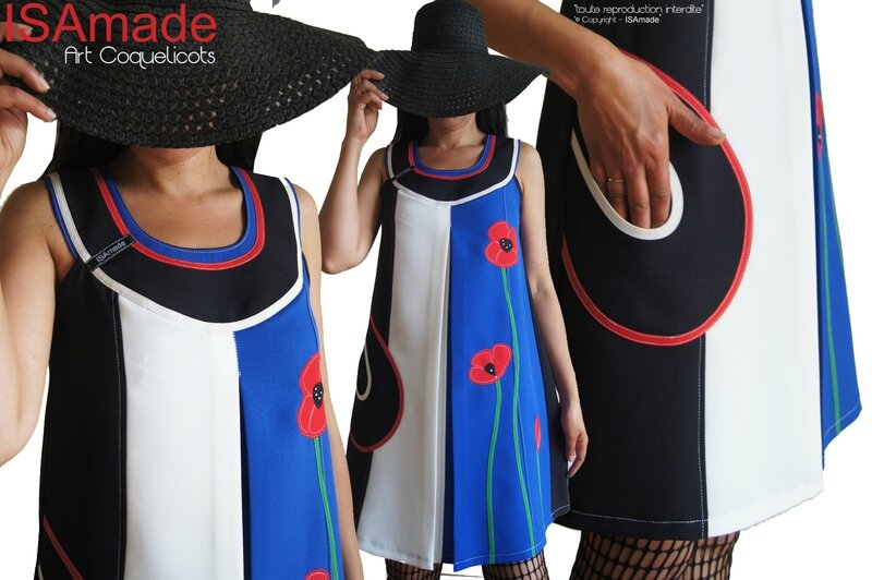 MOD 432A robe trapeze createur bleu blanc rouge graphique fleurie coquelicot made in france