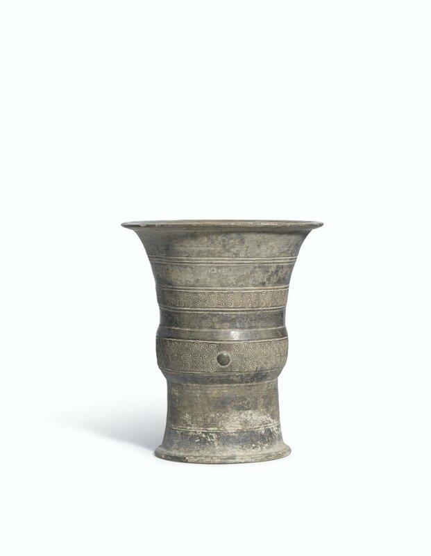 A rare grey pottery zun, Shang Dynasty