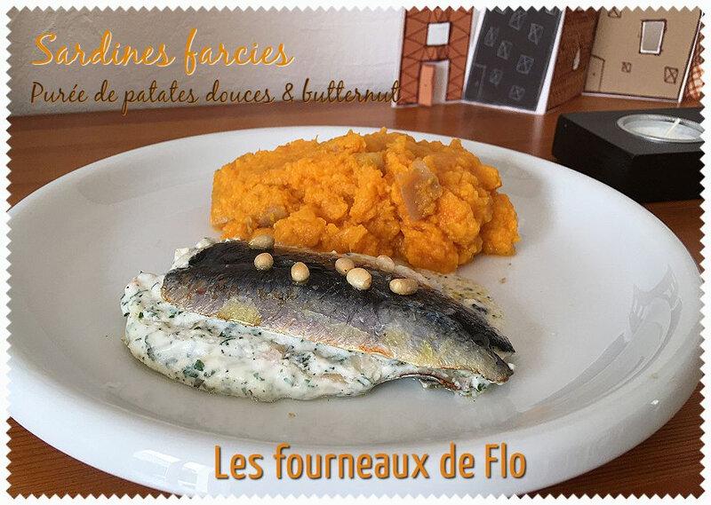 Sardines farcies & purée de patates douces butternut (montage)