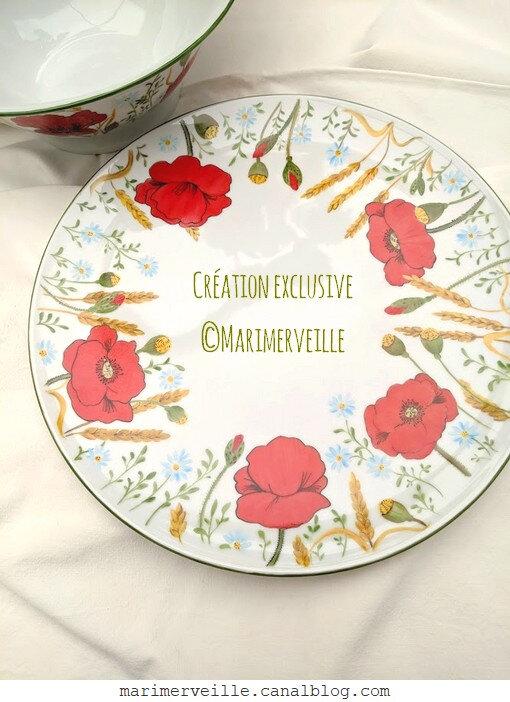 service aux coquelicots 9- peinture sur porcelaine exclusivité ©marimerveille