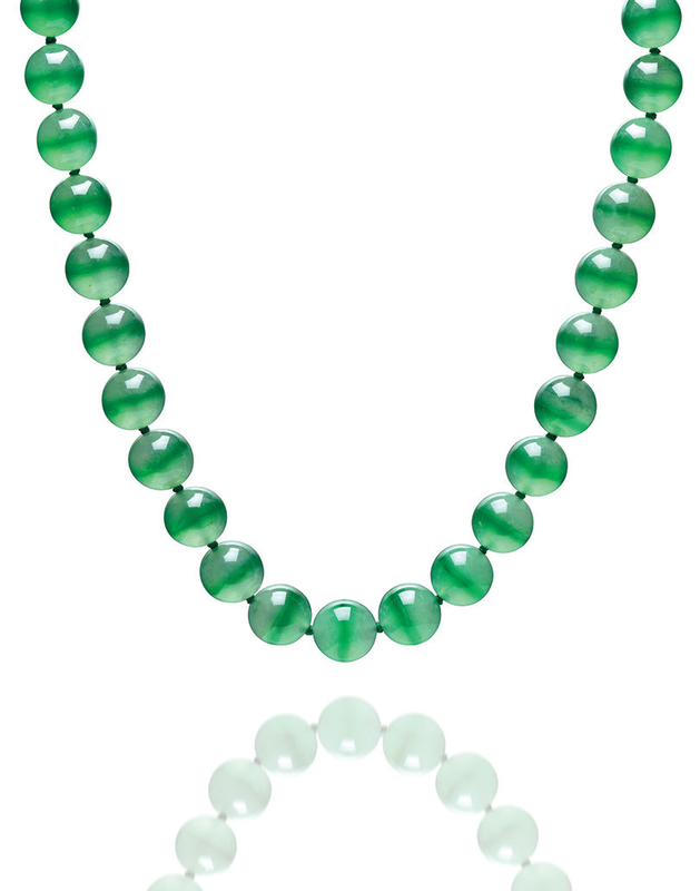 A unique jadeite bead and diamond necklace