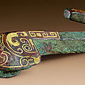 A small gold-inlaid bronze garment hook, eastern han dynasty, 2nd-3rd century bc